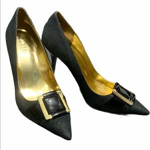 Guess textile and leather buckled pumps